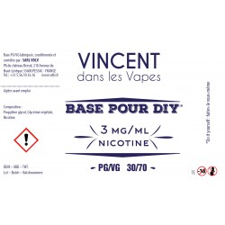 Base 30% PG/70% VG 1L Vincent en vapes