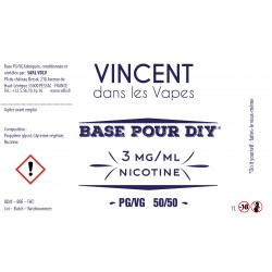 Base 50% PG/50% VG 1L Vincent en vapes